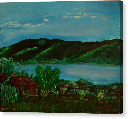 Lake In The Mountains Photo Canvas Print