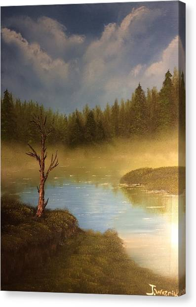 Lake In The Woods  Canvas Print
