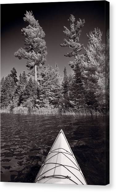 Kayaks Canvas Print - Lake Kayaking Bw by Steve Gadomski