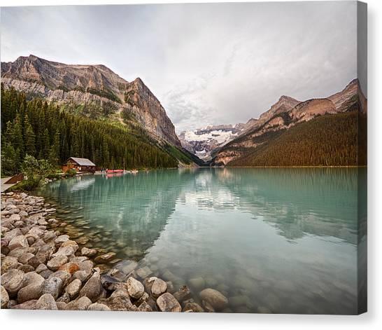 Lake Louise Canoe Rental Canvas Print