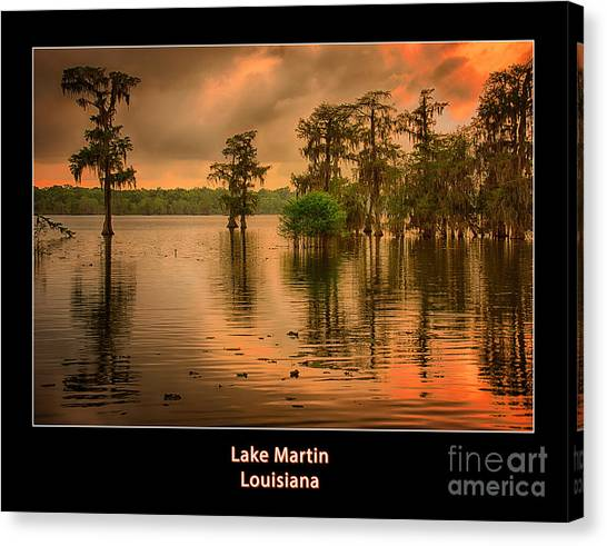 Cottonmouths Canvas Print - Lake Martin Sunset Poster by Priscilla Burgers