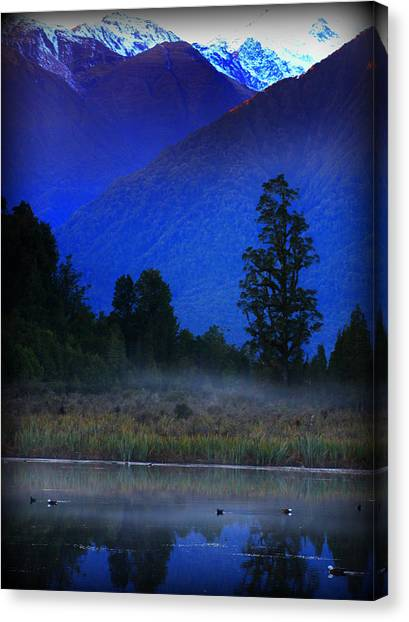 Fox Glacier Canvas Print - Lake Matheson New Zealand by Amanda Stadther