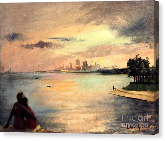 Lake Michigan Chicago Skyline 1952 Canvas Print