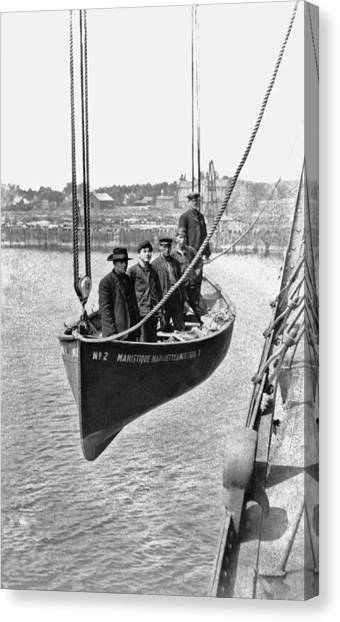 Marquette University Canvas Print - Lake Michigan Ferry Lifeboat by Underwood Archives
