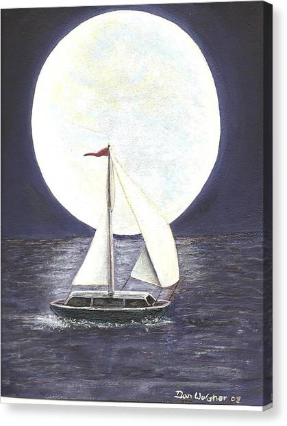 Lake Michigan Full Moon Canvas Print