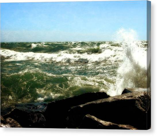 Lake Michigan In An Angry Mood Canvas Print
