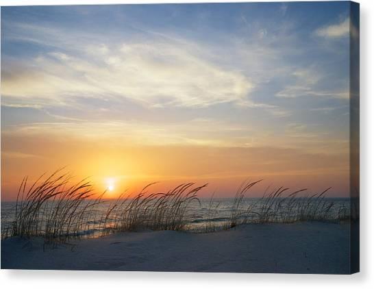 Lake Michigan Sunset With Dune Grass Canvas Print
