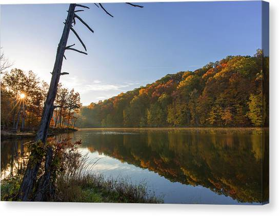 Indiana Autumn Canvas Print - Lake Ogle In Autumn In Brown County by Chuck Haney