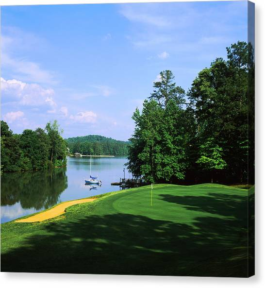 Golf Course Canvas Print - Lake On A Golf Course, Legend Course by Panoramic Images