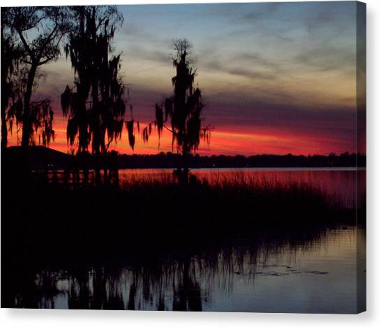 Lake On Fire Canvas Print