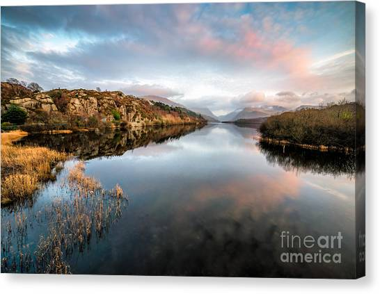 Snowdon Canvas Print - Lake Padarn Sunset by Adrian Evans