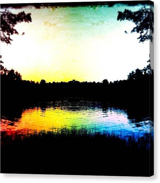 Lake Sunsets Canvas Print - #lake #rainbow #vibrant #fishing by Darvin Andersonjr