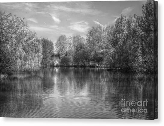 Lake Reflections Mono Canvas Print