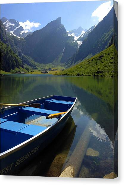 Lake Seealpsee Alpstein Canton Appenzell Switzerland Canvas Print by PIXELS  XPOSED Ralph A Ledergerber Photography