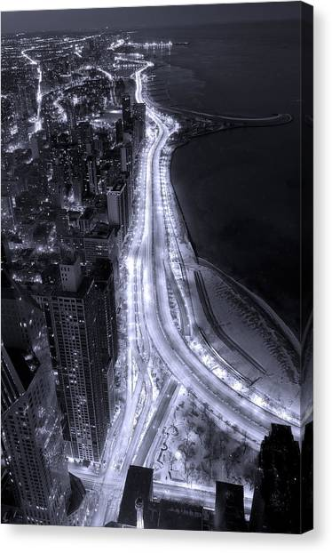 University Of Illinois Canvas Print - Lake Shore Drive Aerial  B And  W by Steve Gadomski