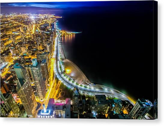 Lake Shore Drive Glow Canvas Print by Raf Winterpacht