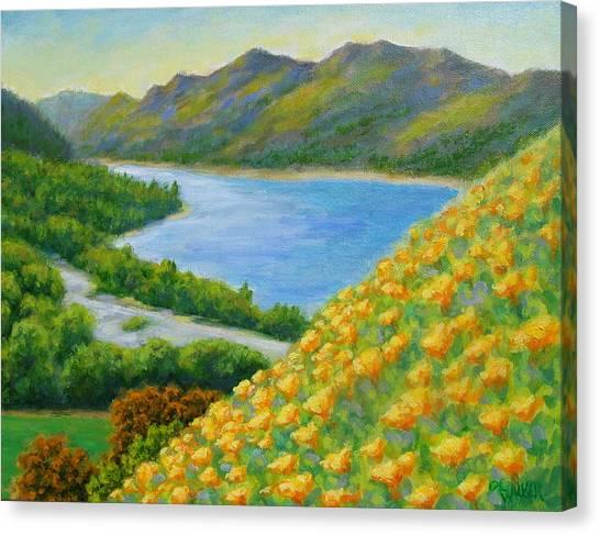 Lake Sonoma Poppies Canvas Print by David LeRoy Walker
