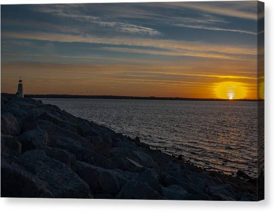Lighthouses Canvas Print - Lake Sunset by Courtney S