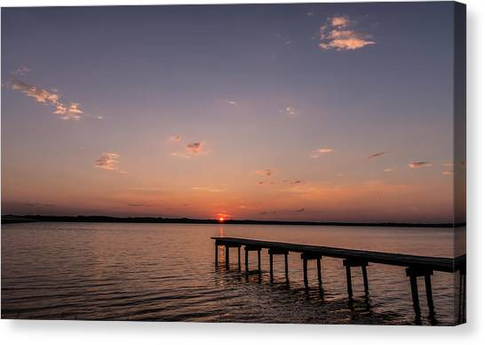 Lake Sunset Over Pier Canvas Print