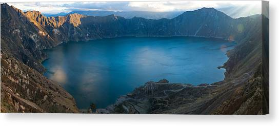 Cotopaxi Canvas Print - Lake Surrounded By Mountains, Quilotoa by Panoramic Images