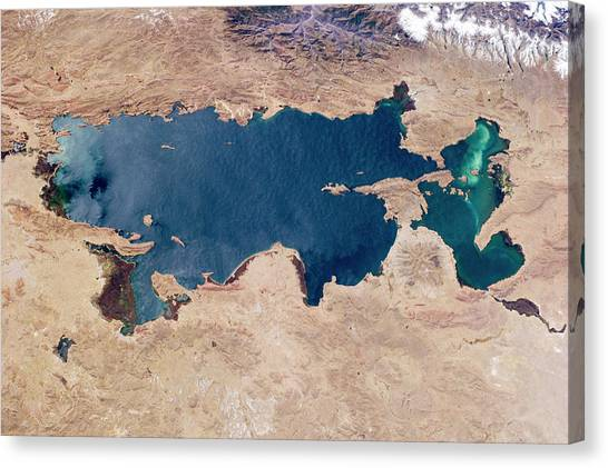 Real Salt Lake Canvas Print - Lake Titicaca From Space by Nasa
