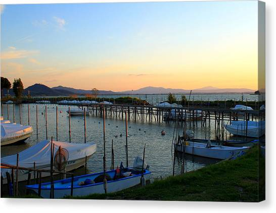 Lake Trasimeno Marina Canvas Print by Saya Studios