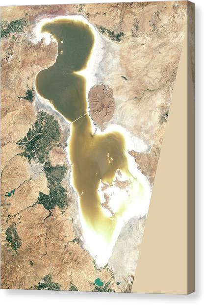 Controversial Canvas Print - Lake Urmia by Nasa Earth Observatory