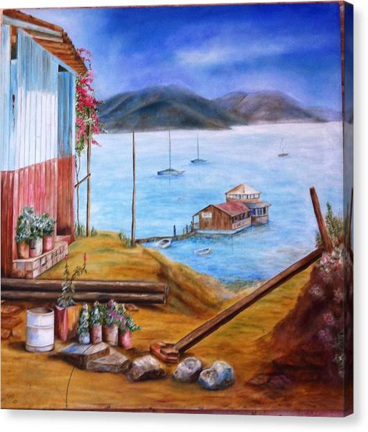 Lake Valle De Bravo Mexico Canvas Print by Nora Vega