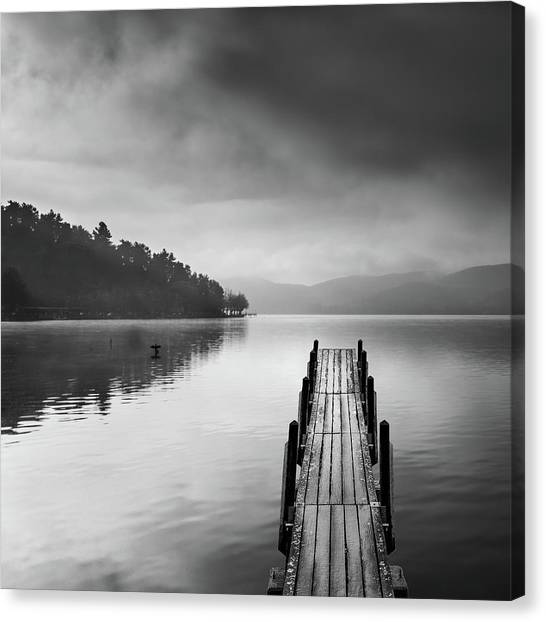 Pier Canvas Print - Lake View With Pier II by George Digalakis