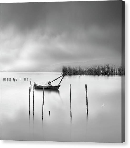 Pier Canvas Print - Lake View With Poles And Boat by George Digalakis