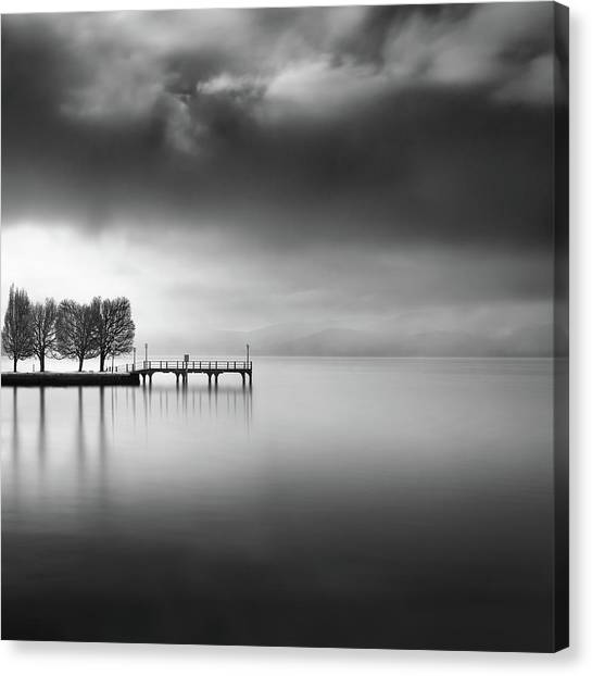 Pier Canvas Print - Lake View With Trees by George Digalakis