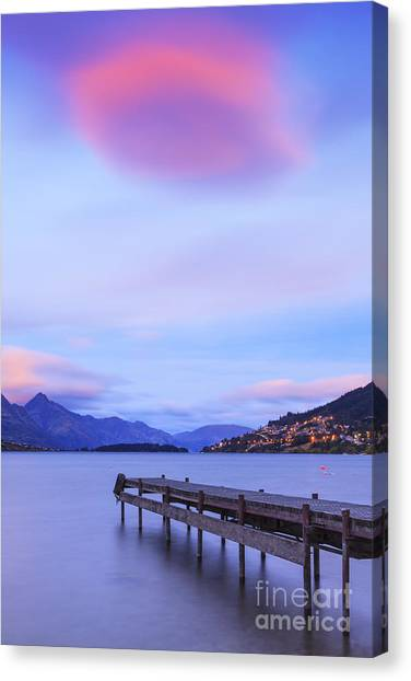 Cloud Canvas Print - Lake Wakatipu Queenstown New Zealand by Colin and Linda McKie