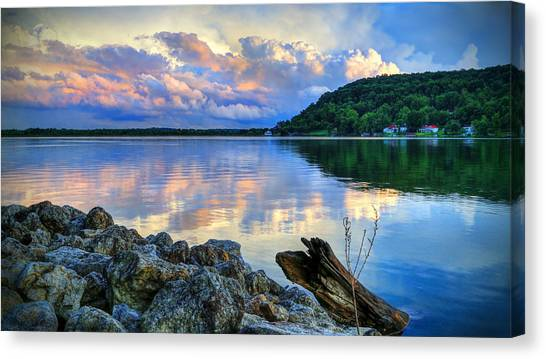 Lake White Sundown Canvas Print