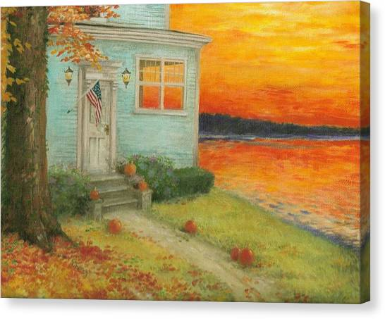 Lakehouse Fall Nocturne Canvas Print