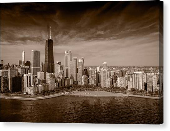 City Sunrises Canvas Print - Lakeshore Chicago Aloft Bw by Steve Gadomski