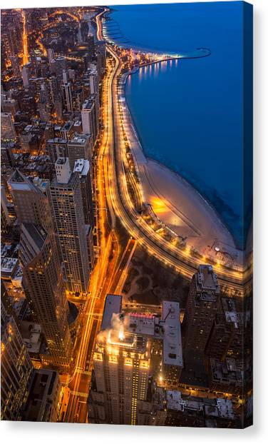 Aerial Canvas Print - Lakeshore Drive Aloft by Steve Gadomski