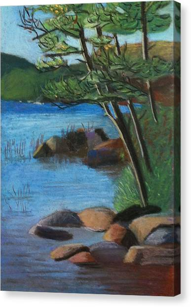 Lakeside Pines Canvas Print by Jane Croteau