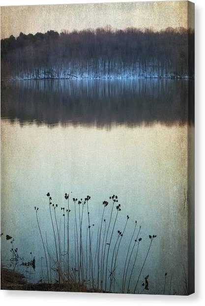Lakeside Winter Flowers Canvas Print