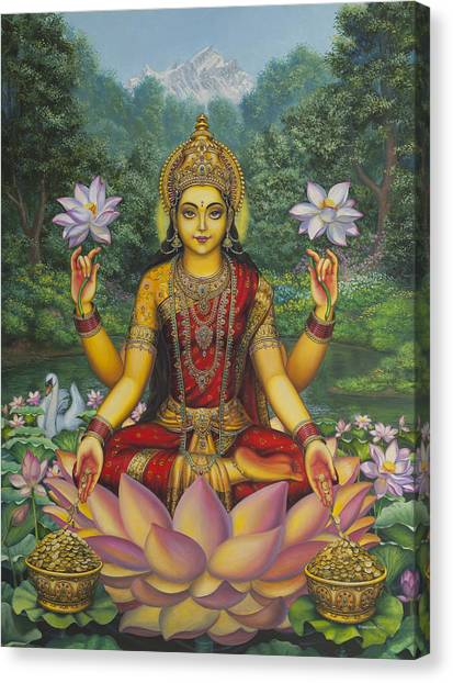 Indian Canvas Print - Lakshmi by Vrindavan Das