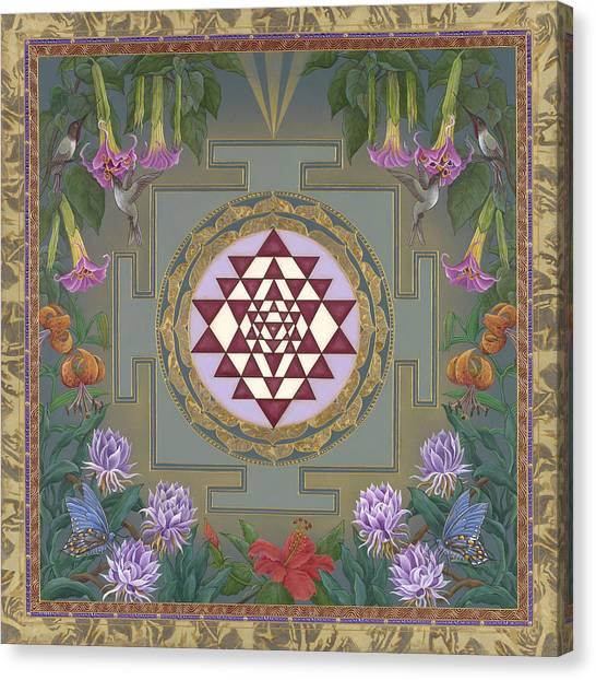 Lalita's Garden Sri Yantra Canvas Print