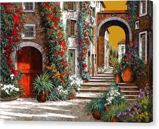 Red Door Canvas Print - L'altra Porta Rossa Al Tramonto by Guido Borelli