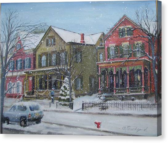 Lambertville In The Snow Canvas Print