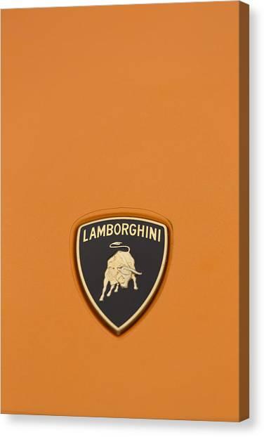 Lambo Hood Ornament Orange Canvas Print