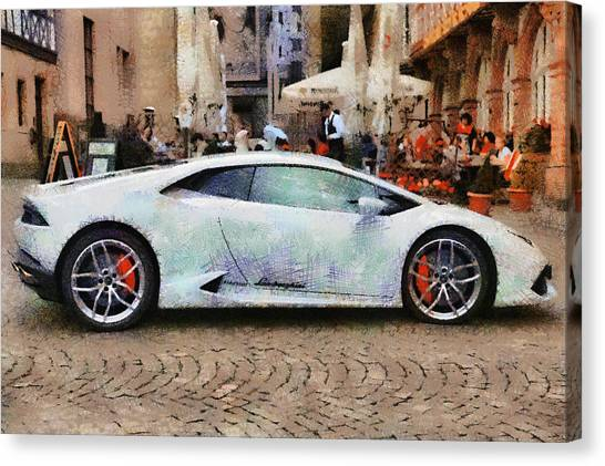 Lamborghini Huracane Lp 610-4 Parked In The City Canvas Print