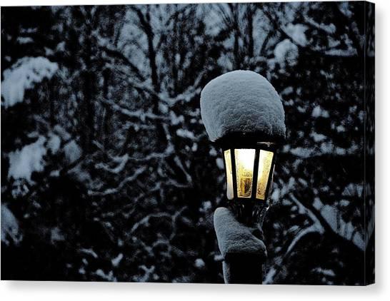 Lamp Light In Winter Canvas Print by Carolyn Reinhart