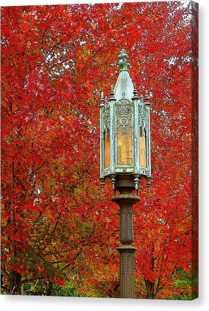 Lamp Post In Fall Canvas Print