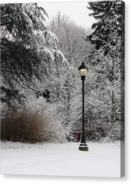 Lamp Post In Winter Canvas Print