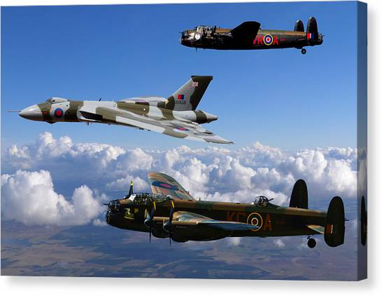 Lancaster Bombers And Vulcan Xh558 Canvas Print