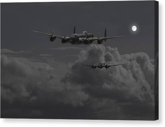 Luftwaffe Canvas Print - Lancaster- Night Hunter by Pat Speirs