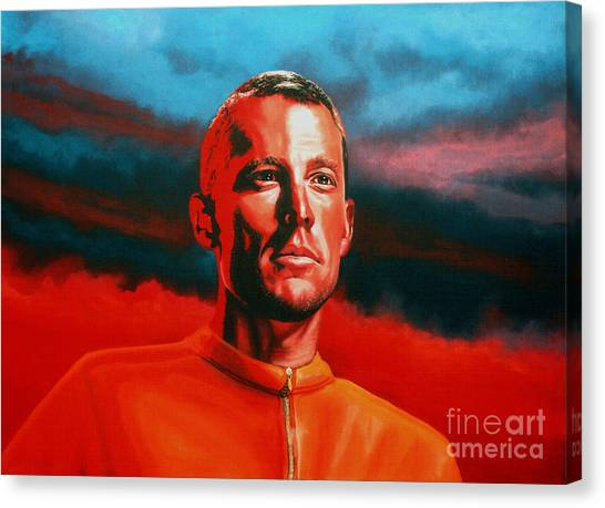 Cyclist Canvas Print - Lance Armstrong 2 by Paul Meijering